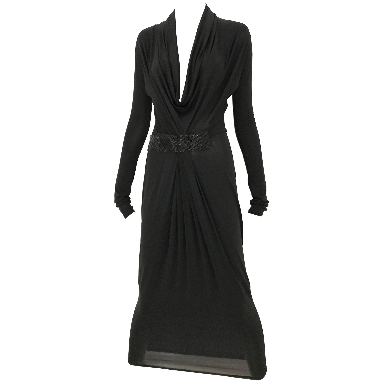 1990s Gianfranco Ferre Black Knit Jersey Cocktail Dress