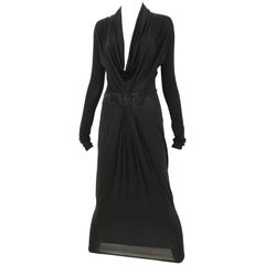 1990s GIANFRANCO FERRE Plunging Neckline Black Knit Dress