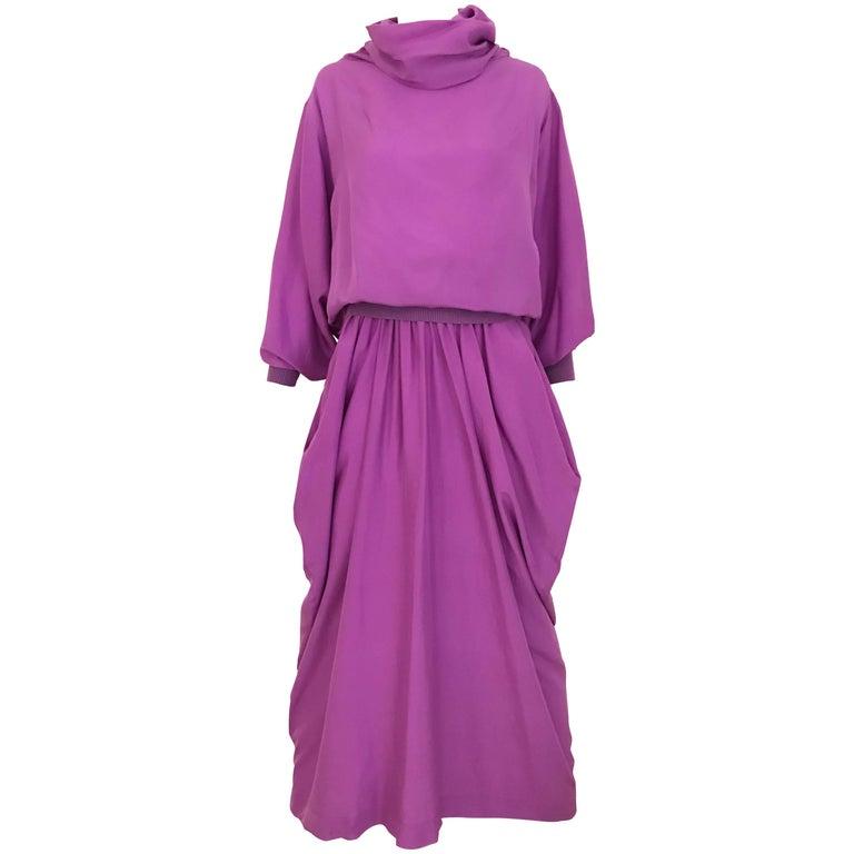 1990s MAX MARA Violet Silk Blouse and Skirt Ensemble 1