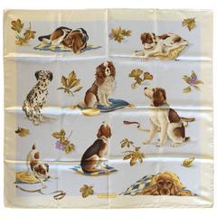 Rare Ferragamo Dog Themed Silk Scarf. 1980's