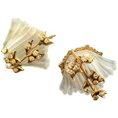 Miriam Haskell Glass Sea Shell Earrings. 1960's.