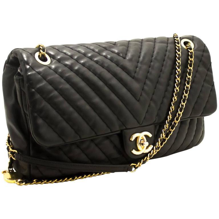 e7a9a2dc99d34 CHANEL V Stitch Chevron Flap Chain Shoulder Bag Black Medallion For Sale
