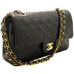 "CHANEL 2.55 Double Flap 10"" Chain Shoulder Bag Black Lambskin"