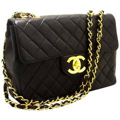 """CHANEL 11"""" Jumbo Chain Shoulder Bag Crossbody Black Quilted Flap"""