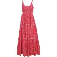 1970's Victor Costa Red & White Cotton Maxi Sun Dress