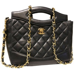 Chanel Classic Black Quilted Lambskin Leather Two ways Shoulder Bag