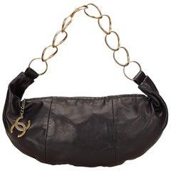"Chanel Black Lambskin Leather ""CC"" Ring Hobo Bag"