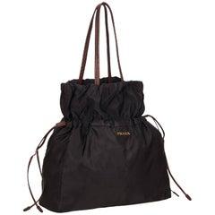 Prada Black Nylon Drawstring Tote Bag
