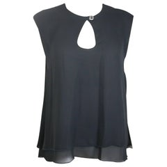 Ikons Black Polyester Double Layers Sleeveless Blouse
