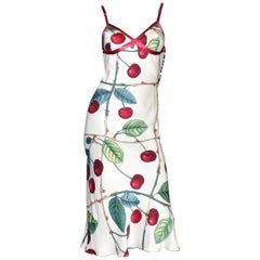 Fantastic 2003 John Galliano Cherry Print Silk Dress