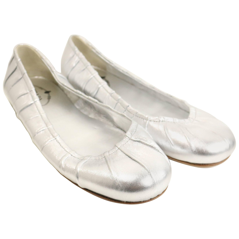 Prada Silver Metallic Leather Flats