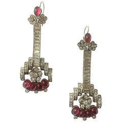 Ruby cabuchon, paste and sterling silver drop earrings, 1930s