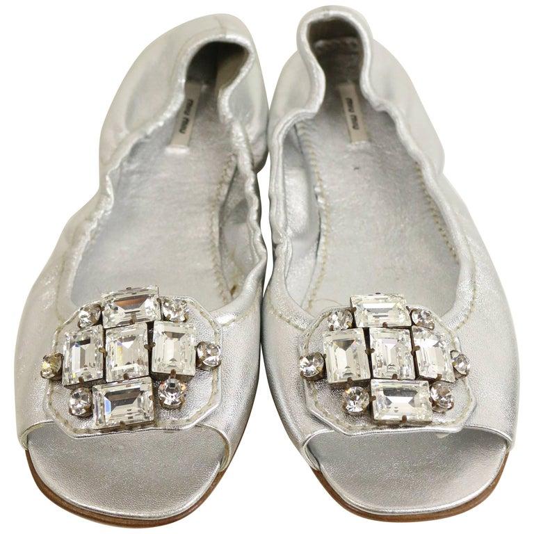 Mui Mui Silver Metallic Open Toe Flats For Sale