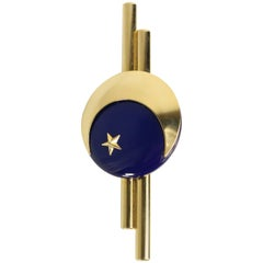 Charles Jourdan Gold Toned Navy Metal Star Brooch