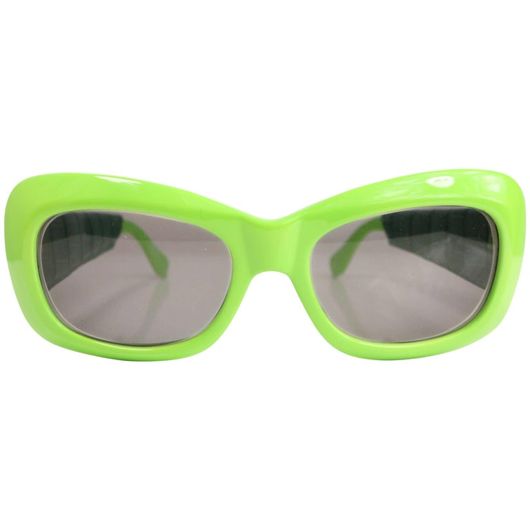 Gianni Versace Green Croc Leather Sunglasses