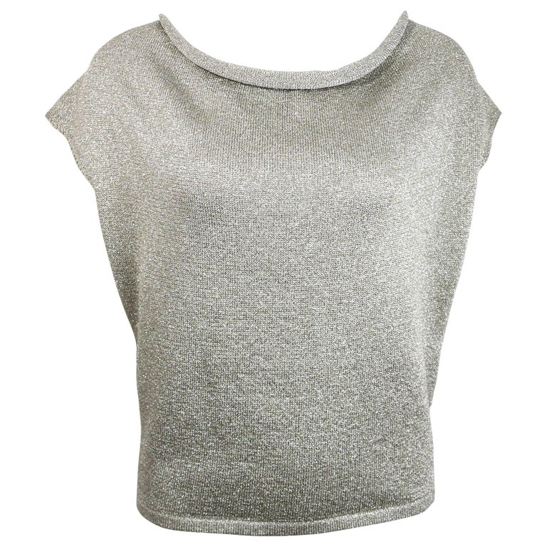 Saint Laurent by Hedi Slimane Silver Metallic Round Neck Top For Sale