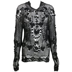 Black Knitted Pattern Long Sleeves Top