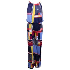Clements Ribeiro Multi Colour Retro Patterns Blouse and Pants Ensemble