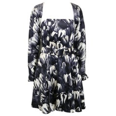David Fielden Black and White Floral Print Tube Dress with Bolero Shrug Sleeves