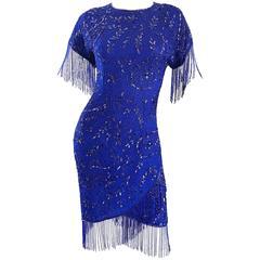 Incredible 1990s Royal Blue Vintage Silk Beaded & Fringe Vintage Flapper Dress