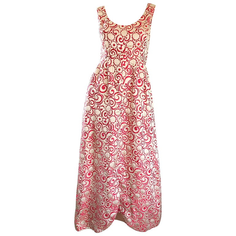 Ceil Chapman 1960s Raspberry Pink + Gold Silk Brocade Flower Vintage 60s Gown  For Sale