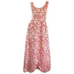 Ceil Chapman 1960s Raspberry Pink + Gold Silk Brocade Flower Vintage 60s Gown