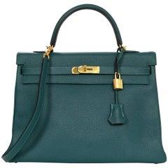 Hermes Malachite Green Togo Leather 35cm Kelly Bag GHW