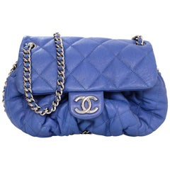 Chanel Blue Washed Lambskin Medium Chain Around Crossbody Bag