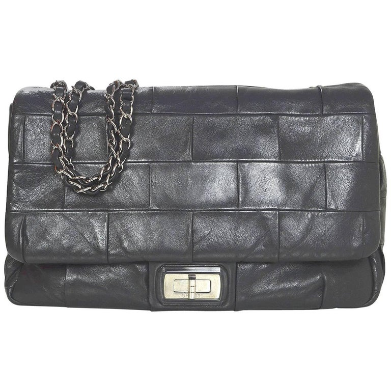 Chanel Grey Leather Square Quilted Reissue 2.55 Flap Bag For Sale