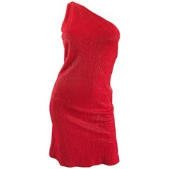 1990s Tuleh Lipstick Red Silk Fully Beaded Size 8 One Shoulder Vintage 90s Dress