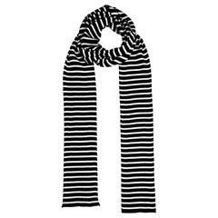 Saint Laurent Men's Black & White Extra Long Striped Knit Scarf rt. $245