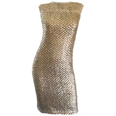 Documented 1960s Pat Sandler Lauren Hutton Gold Sequin Rhinestone Vintage Dress