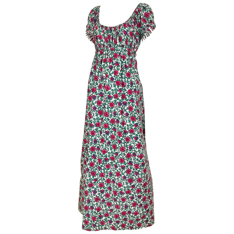 1970s Bonwit Teller floral Print Cotton Maxi Dress