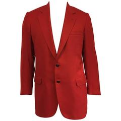 Men's Brioni Wool Blend Jacket in Roaring Red with Polo Player Buttons sz 42