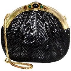 Judith Leiber Black Vintage Python Crossbody Evening Bag with Dust Bag