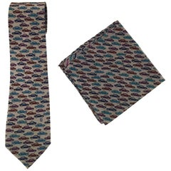 Men's Fendi Fun Silk Neck Tie and Pocket Square with Cute Cars