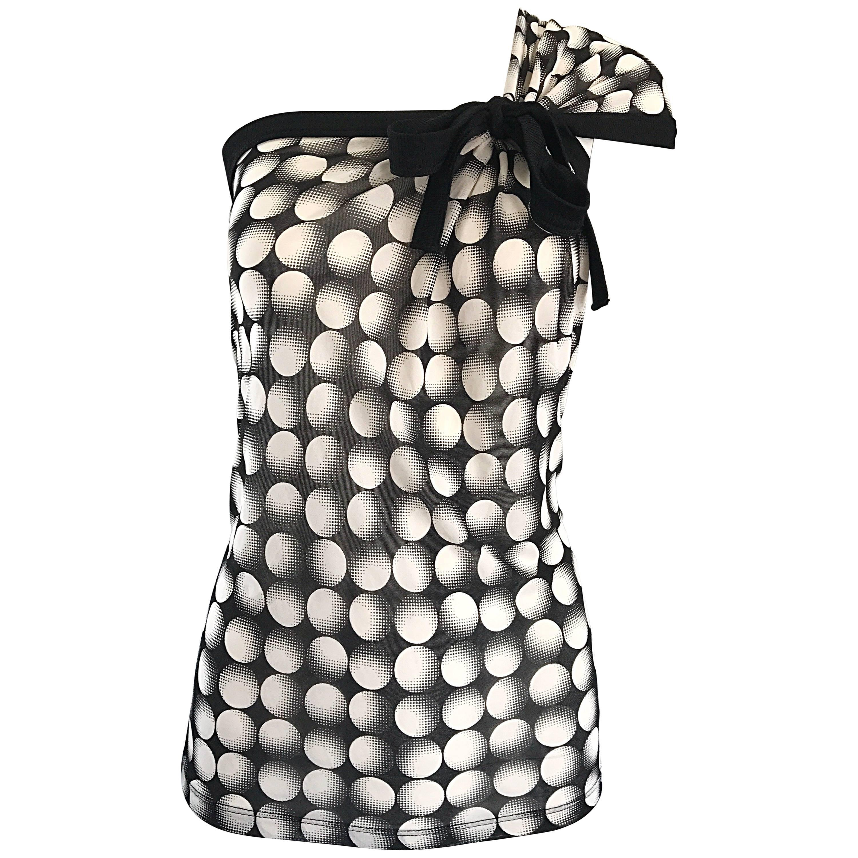 Jean Paul Gaultier New 1990s Black and White Size Large One Shoulder Op Art Top
