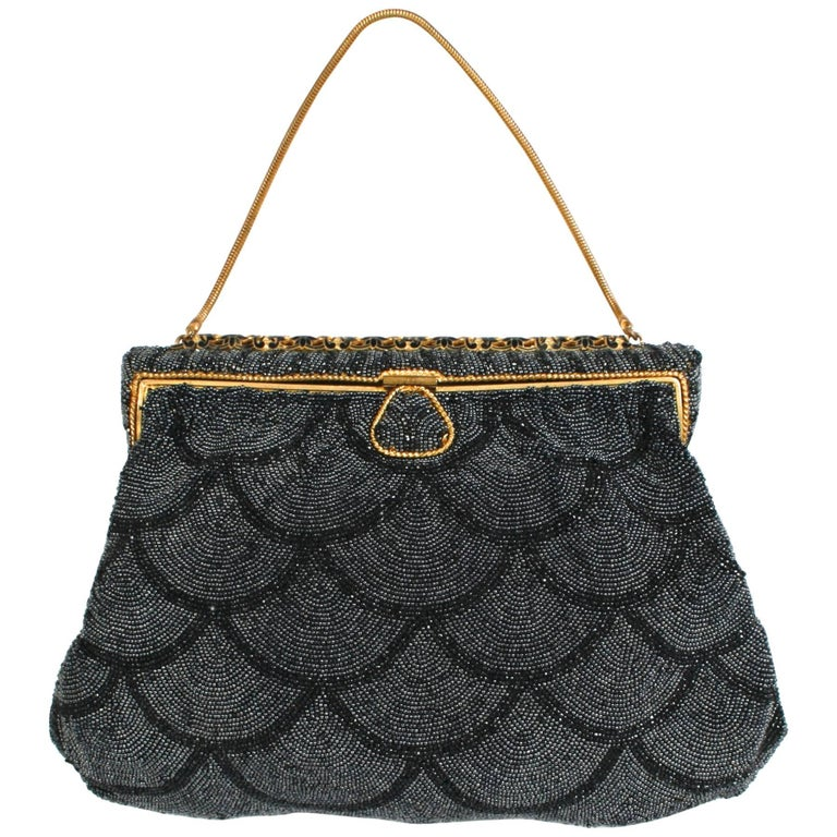 Black Scallop Beaded and Enameled Gold-tone Evening Bag
