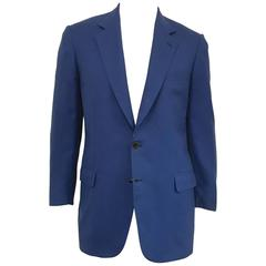 Men's Brioni Lovely Lapis Blue Jacket in Wool and Silk Blend, sz 42