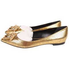 Versace Medusa Ballerina Flats - gold leather