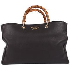 Gucci Bamboo Shopper Tote Bag L - black leather