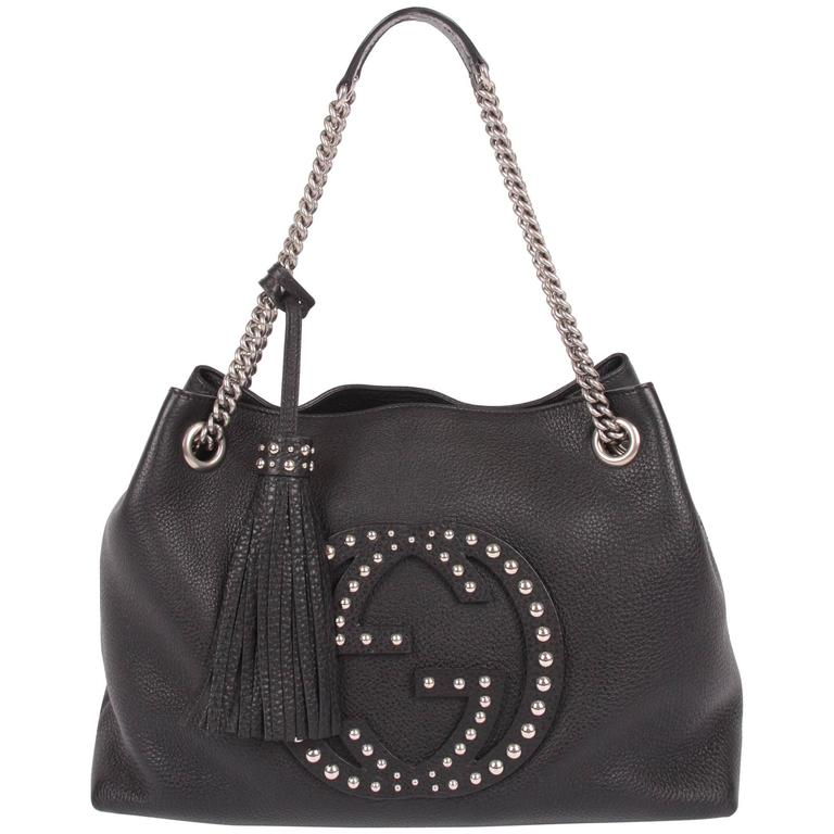 944fab8029a Gucci Studded Soho Shoulder Bag - black leather Gucci Studded Soho Shoulde  For Sale