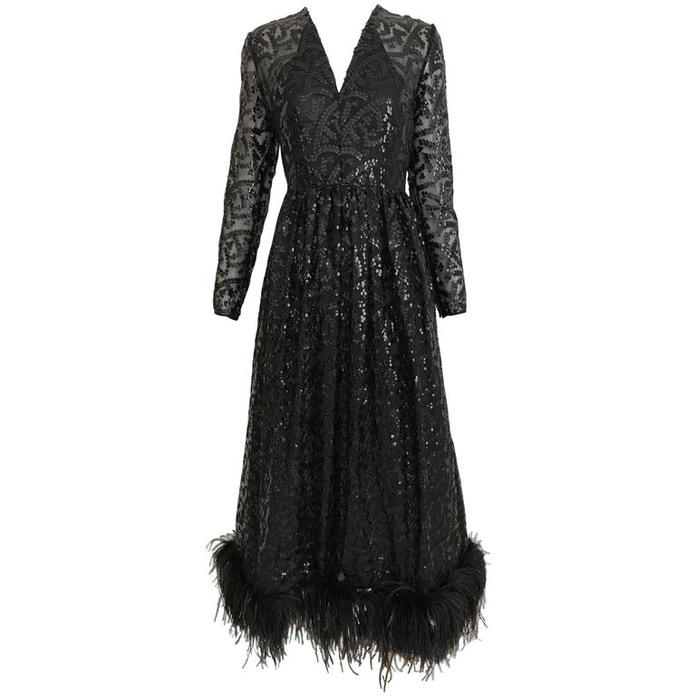 Vintage 1960s BILL BLASS Black V Neck Sequin Gown with Ostrich Feathers For Sale