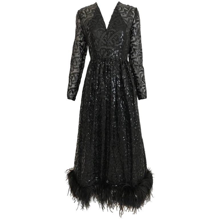 Vintage 1960s BILL BLASS Black V Neck Sequin Gown with Ostrich Feathers