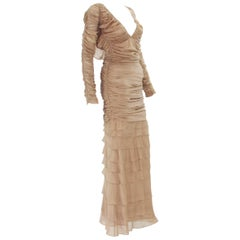 Tom Ford for Gucci 2002 Collection Nude Silk Stretch Open Back Dress Gown S
