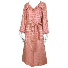1970s CHRISTIAN DIOR Pink Mosaic Checkered Print Silk jacquared Coat