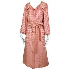 1970s CHRISTIAN DIOR Pink Mosaic Checkered Print Silk jacquared Coat