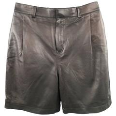 Men's GIVENCHY Size 30 Pleated Leather Knit Back Bermuda Shorts