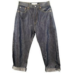 Junya Watanabe Indigo Metallic Cotton Blend Reverse Seam Jeans