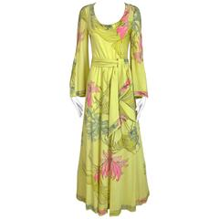 1970s LEONARD Yellow and Pink Floral Print Jersey Bell Sleeve Maxi vintage dress